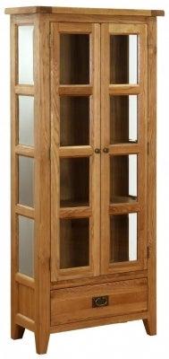 Vancouver Petite Oak 2 Door 1 Drawer Glazed Display Cabinet