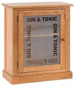 Vancouver Petite Oak Gin and Tonic 1 Door Drinks Cabinet