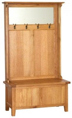 Vancouver Petite Oak Storage Unit with Coat Rack and Mirror