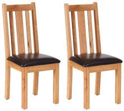 Vancouver Petite Oak Vertical Slatted Dining Chair with Chocolate Leather Seat (Pair)