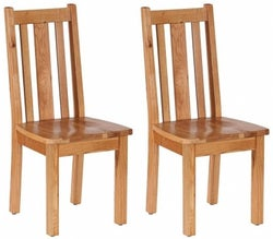 Vancouver Petite Oak Vertical Slatted Dining Chair with Timber Seat (Pair)