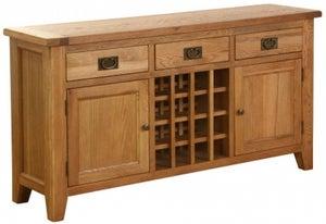 Vancouver Petite Oak 2 Door 3 Drawer Wine Table