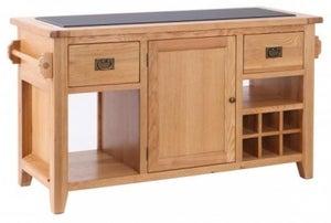 Vancouver Premium Solid Oak 1 Door 2 Drawer Kitchen Island with Granite Top