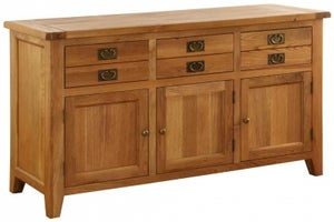 Vancouver Premium Solid Oak 3 Door 3 Drawer Dresser Base