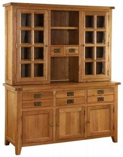 Vancouver Premium Solid Oak 5 Door 5 Drawer Dresser Base with Bevelled Glass Glazed Top