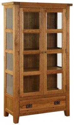 Vancouver Premium Solid Oak 2 Door 1 Drawer Glazed Cupboard with Bevelled Glass