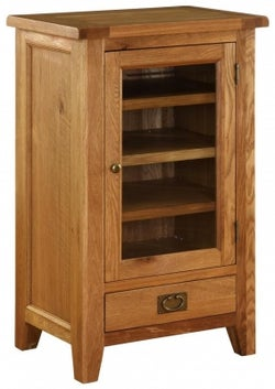 Vancouver Premium Solid Oak 1 Door 1 Drawer Hi Fi Cabinet with Bevelled Glass