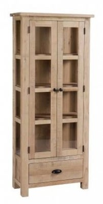Vancouver Sawn White Washed Oak 2 Door 1 Drawer Glazed Display Cabinet