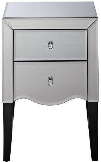 Clearance - Birlea Palermo Mirrored Bedside Cabinet - New - E-454