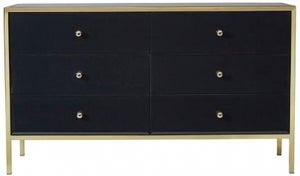 Birlea Fenwick 6 Drawer Medium Chest - Black and Gold