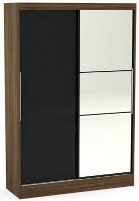 Birlea Lynx 2 Door Sliding Mirror Wardrobe - Walnut and Black