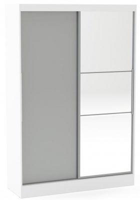 Birlea Lynx 2 Door Sliding Mirror Wardrobe - White and Grey