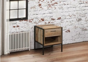 Birlea Urban Rustic Compact Bedside Cabinet with Metal Frame