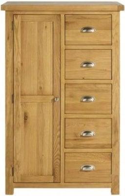 Birlea Woburn Oak 1 Door 5 Drawer Wardrobe
