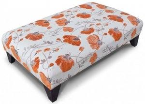 Buoyant Fenton Pattern Pansy Tangerine Fabric Footstool
