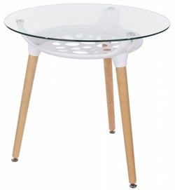 Aspen Round Glass Top Dining Table with Wooden Legs