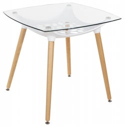 Aspen Square Glass Top Dining Table with Wooden Legs