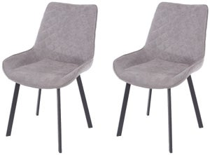 Aspen Grey Fabric Upholstered Dining Chair with Black Metal Legs (Pair)