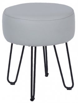 Aspen Grey Faux Leather Round Stool with Black Metal Legs