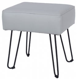 Aspen Grey Faux Leather Stool with Black Metal Legs