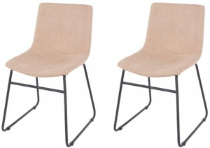 Aspen Sand Fabric Dining Chair with Black Metal Legs (Pair)