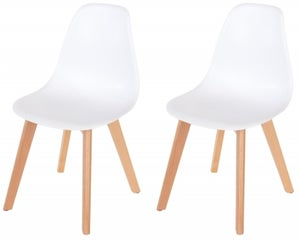 Aspen White Dining Chair with Wooden Legs (Pair)