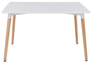 Aspen White Dining Table with Wooden Legs