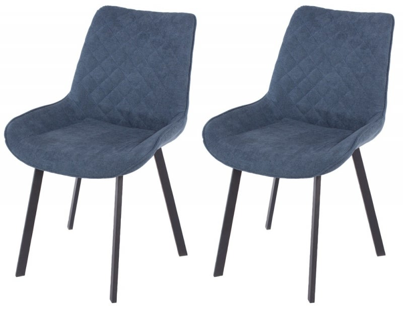 Aspen Blue Fabric Upholstered Dining Chair with Black Metal Legs (Pair)
