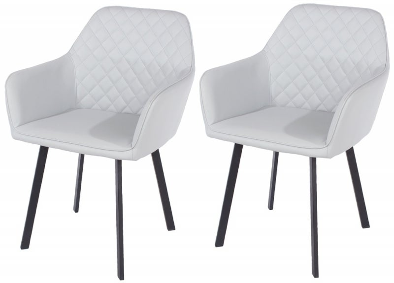 Aspen Grey Faux Leather Armchair with Black Metal Legs (Pair)