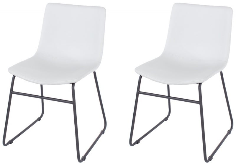Aspen Grey Faux Leather Dining Chair with Black Metal Legs (Pair)
