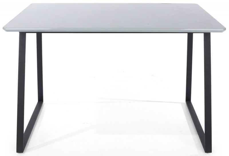 Aspen High Gloss Grey Dining Table with Black Metal Legs