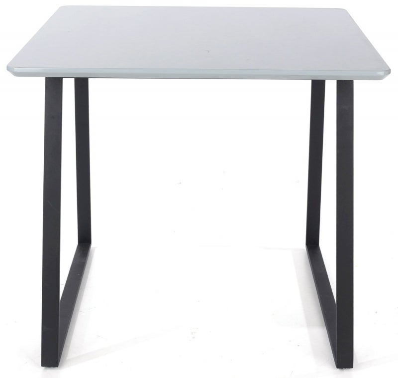 Aspen High Gloss Grey Square Dining Table with Black Metal Legs
