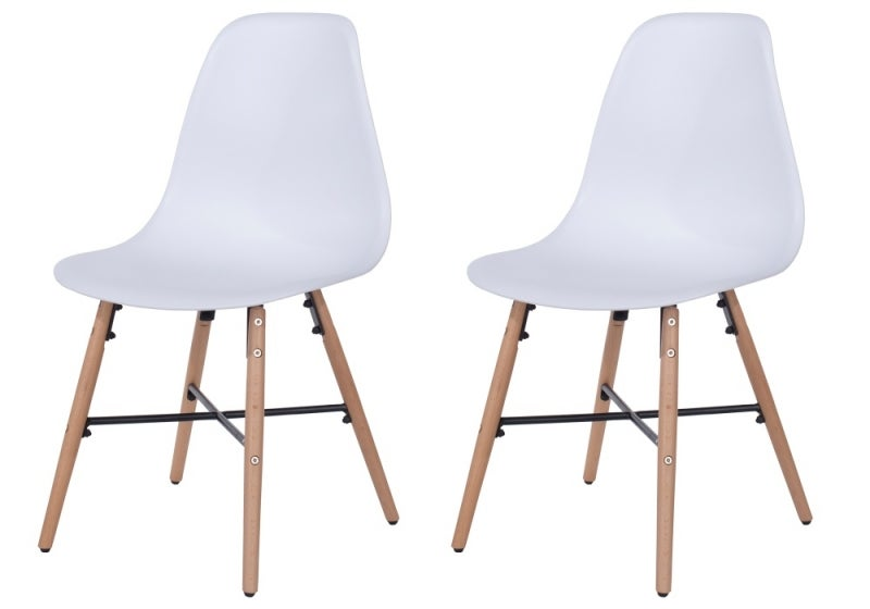 Aspen White Dining Chairs with Wooden Legs and Metal Cross Rail (Pair)
