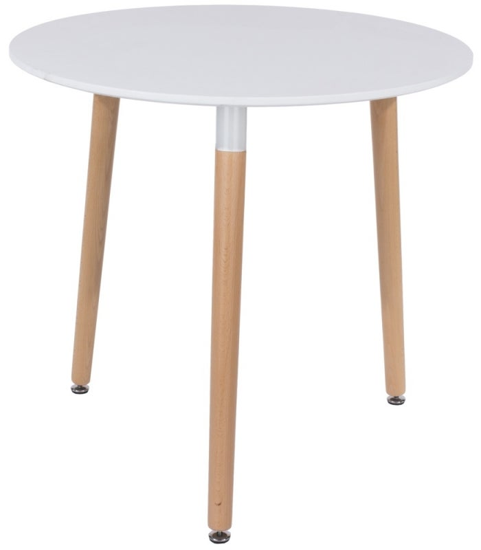 Aspen White Round Dining Table with Wooden Legs