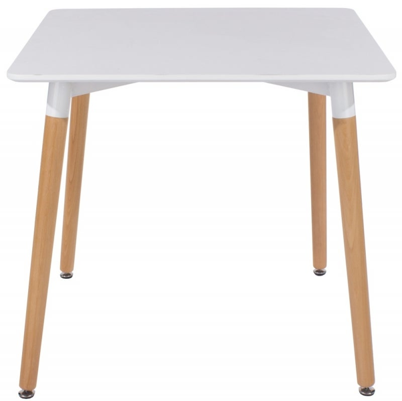 Aspen White Square Dining Table with Wooden Legs