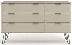 Augusta Driftwood 3+3 Drawer Wide Chest with Hairpin Legs