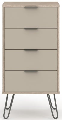 Augusta Driftwood 4 Drawer Narrow Chest with Hairpin Legs