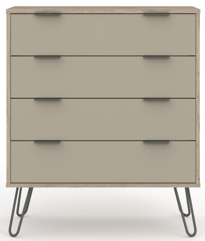 Augusta Driftwood 4 Drawer Chest with Hairpin Legs