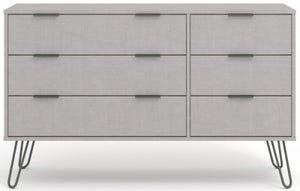 Augusta Grey 3+3 Drawer Wide Chest with Hairpin Legs