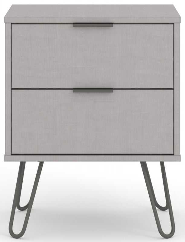 Augusta Grey Bedside Cabinet with Hairpin Legs