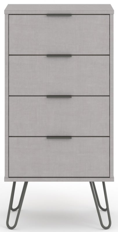 Augusta Grey 4 Drawer Narrow Chest with Hairpin Legs