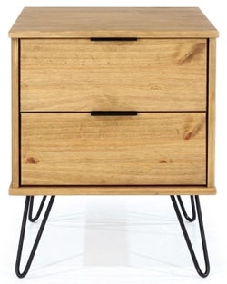 Augusta Pine Bedside Cabinet with Hairpin Legs