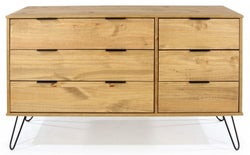 Augusta Pine 3+3 Drawer Wide Chest with Hairpin Legs