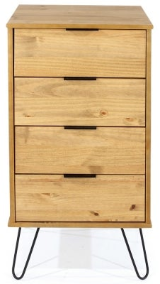 Augusta Pine 4 Drawer Narrow Chest with Hairpin Legs
