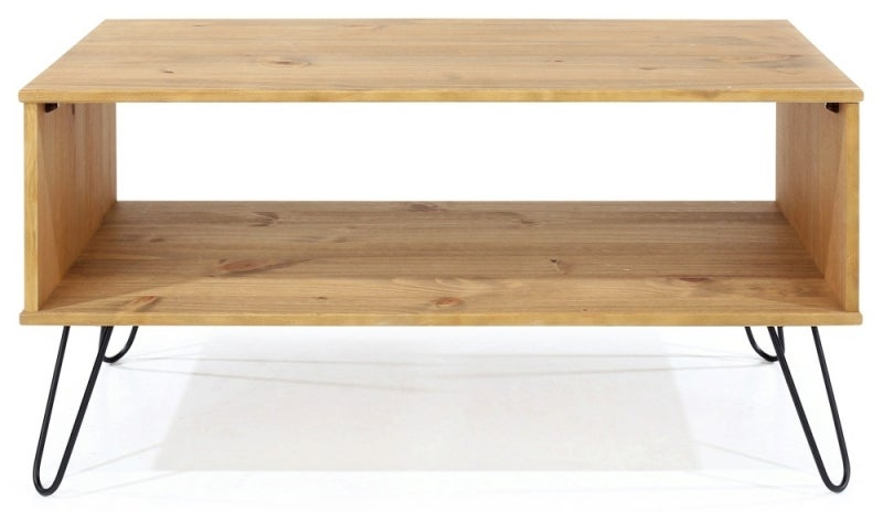 Augusta Pine Open Coffee Table with Hairpin Legs