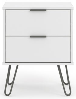 Augusta White Bedside Cabinet with Hairpin Legs