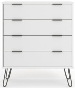Augusta White 4 Drawer Chest with Hairpin Legs
