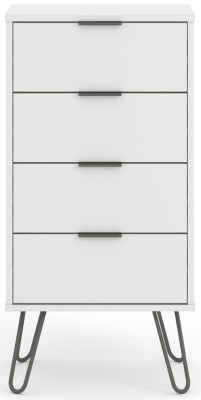 Augusta White 4 Drawer Narrow Chest with Hairpin Legs