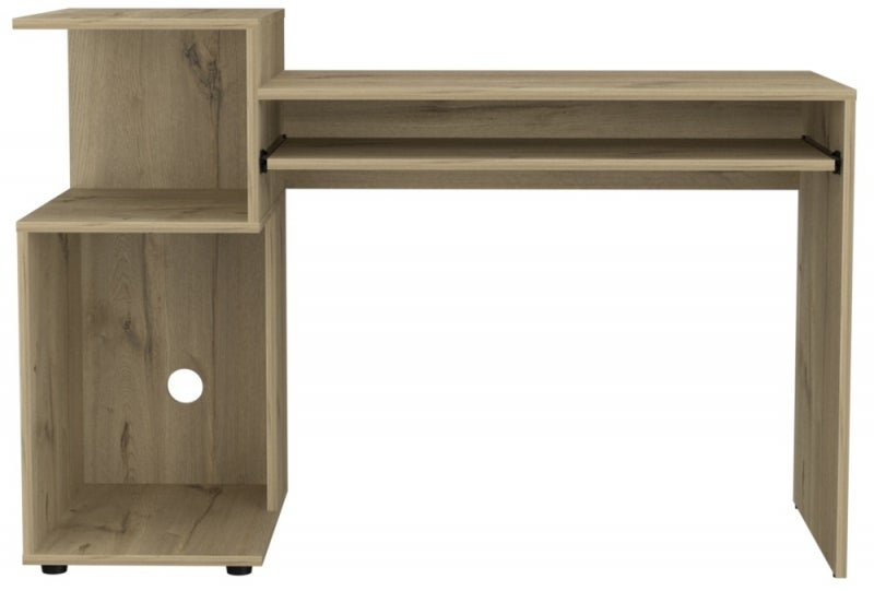 Brooklyn Melamine Desk with Low Shelving Unit - Bleached Pine Effect
