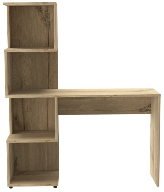 Brooklyn Melamine Desk with Tall Shelving Unit - Bleached Pine Effect